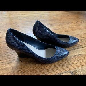 Cole Haan snakeskin wedge pump - blue
